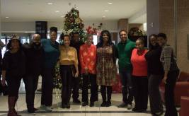 karen with Christmas Eve carolers 2015